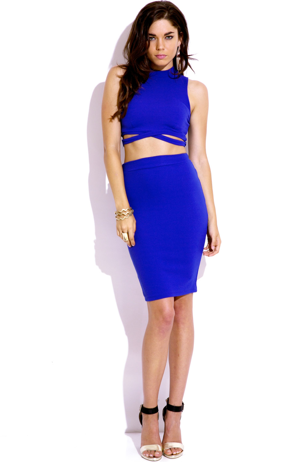 royal blue crisscross crop top bodycon midi skirt two piece set - two can play