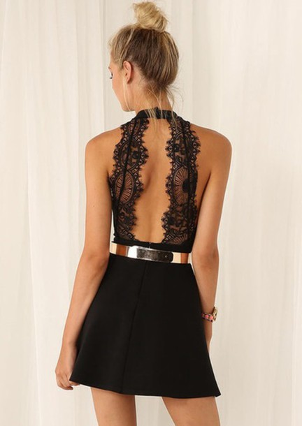 jumpsuit halter neck romper romper dress black dress lace dress gold belt open back dresses little black dress