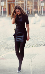 dress,little black dress,leather,panel,half-sleeved,bodycon,date outfit