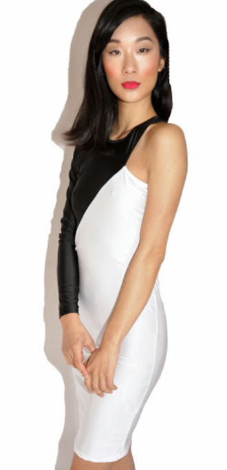 one sleeve one sleeve dress bodycon dress sexy dress little black dress white dress colorblock
