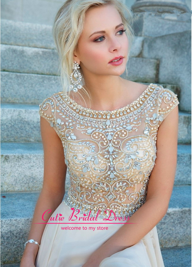 Aliexpress.com : Buy Fast Shipping! Sexy Scalloped Open Back Natural Waist Long Party Dresses Prom Dress Elegant Beading Evening Dress 2014 from Reliable dresses night suppliers on Cutie Bridal Dress