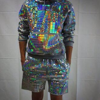 shorts holographic holographic sweater