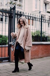 coat,tumblr,camel,camel coat,camel long coat,long coat,masculine coat,oversized,sweater,oversized sweater,beige sweater,denim,jeans,blue jeans,boots,black boots,mid heel boots,over the knee boots,thigh high boots,oversized coat
