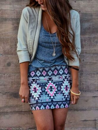skirt summer outfits summer jewelry shirt blouse jacket cardigan pattern beige jacket leather jacket aztec aztec skirt blue shirt cute clothes boho coat tribal pattern mini skirt cool jacket print aztec print skirt top style fashion outfit pinterest t-shirt tribal skirt short girl short skirt necklace