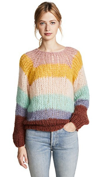 ONE by sweater striped sweater pink