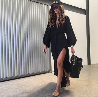 dress black dress maxi dress flowy dress slit dress black maxi dress maxi dress with slits izabel goulart