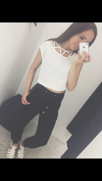 tank top white loose fit