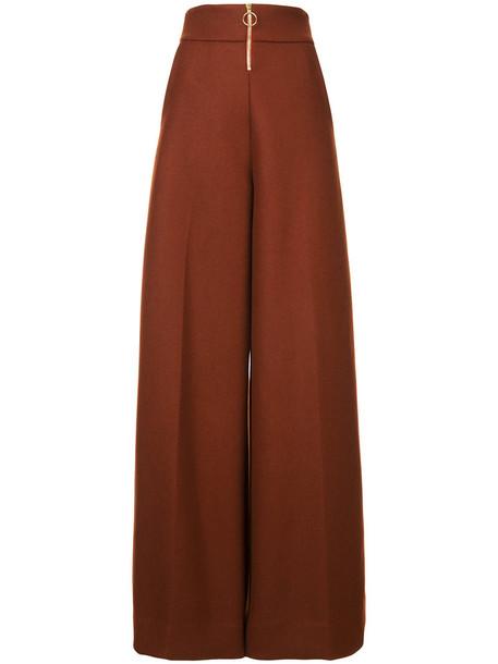 Christian Siriano pants palazzo pants women wool yellow orange