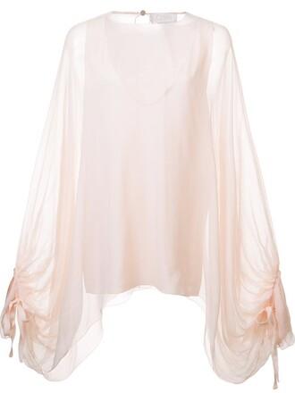 blouse sheer blouse oversized sheer women silk purple pink top
