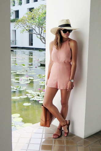 a pair and a spare blogger romper dusty pink sandals