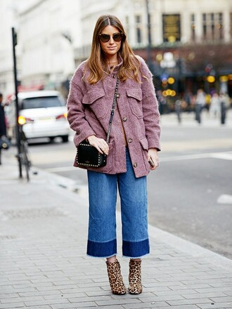 jeans animal print boots denim culottes blue jeans cropped jeans frayed denim boho dress boots high heels boots coat pink coat bag black bag crossbody bag sunglasses winter outfits streetstyle