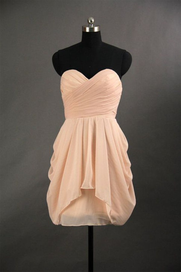peach dress short dress chiffon dress high low dress sweethert dress simple dress ruffle bridesmaid bridesmaid prom dress dresses for wedding short chiffon dress homecoming dress