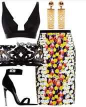 jewels,moschino,bag,skirt,top