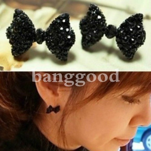 rhinestone jewels crystal black earrings banggood bowknot bow tie