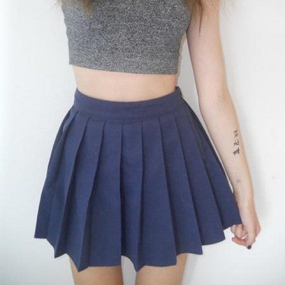 skirt mini skirt blue pleated skirt kawaii blue skirt grey top