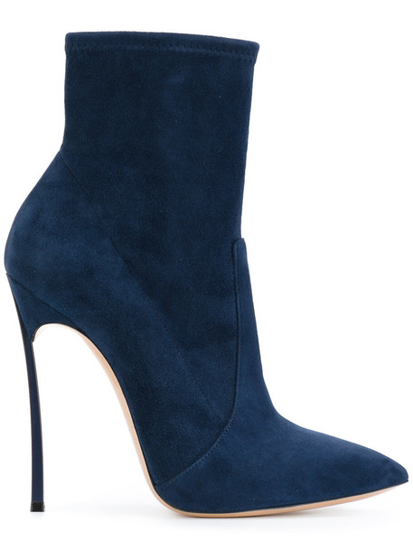 CASADEI women ankle boots leather blue shoes
