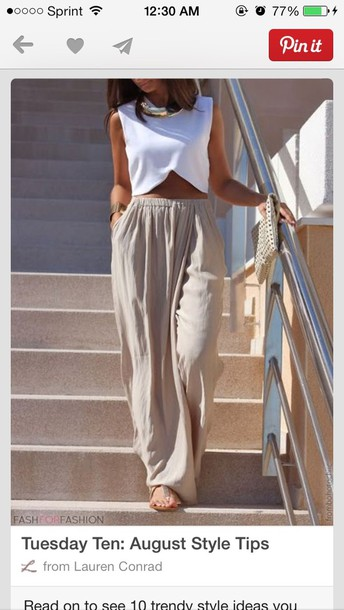 pants shiffon pants beige high waisted shirt white crop tops taupe taupe pants maxi skirt pockets white top crop tops blouse tan pants tan joggers tan loose pants tan loose fit pants tan dress pants