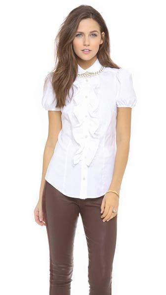 Red valentino poplin short sleeve ruffle blouse
