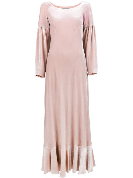 Alberta Ferretti dress maxi dress maxi women silk velvet purple pink