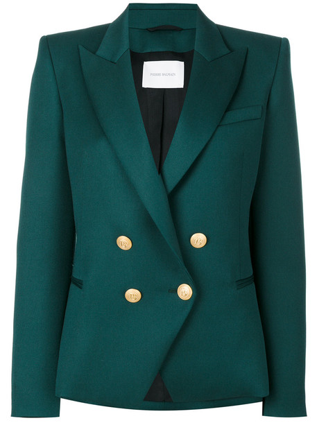 Pierre Balmain blazer double breasted women wool green jacket