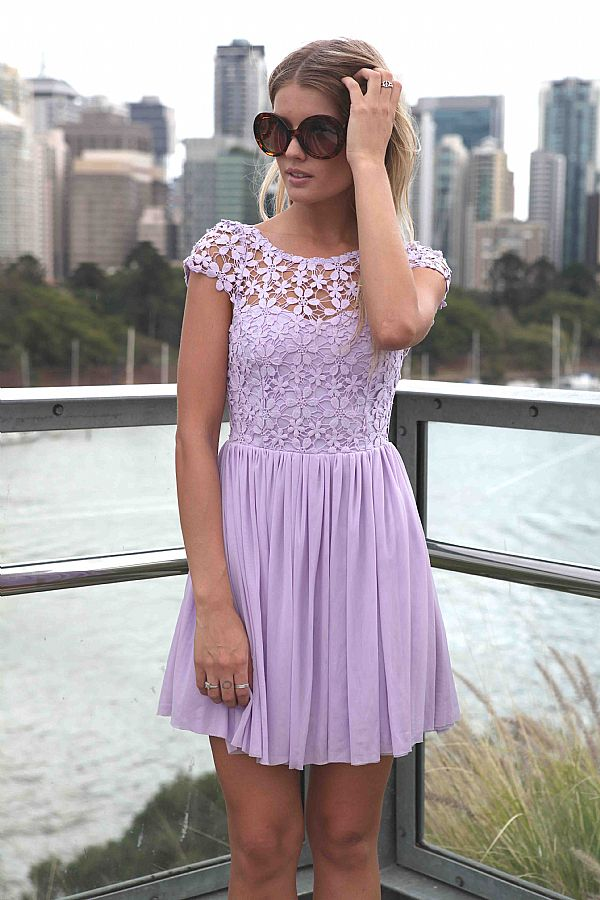Purple Day Dress - Purple Embroidered Lace Top Dress | UsTrendy