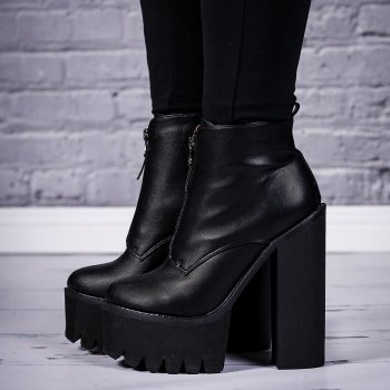 buy bandit chunky cleated sole zip platform ankle boots. Black Bedroom Furniture Sets. Home Design Ideas