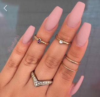 jewels nails cute gold sliver ring nude nail polish knuckle ring gold ring jewelry