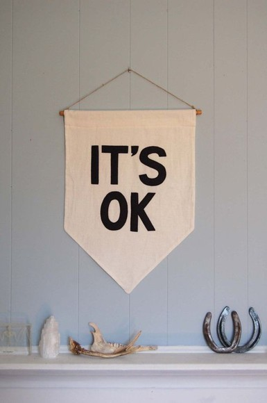 bag print it's ok poster wall letter decoration home decor quote on it