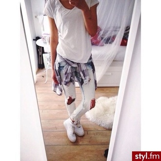 jeans spiker nike shoes sneakers white shirt blouse air max jacket