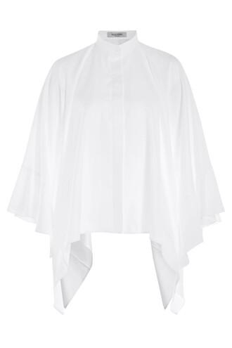blouse cape cotton white top