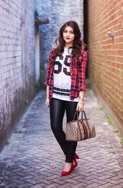 carly maddox blogger jersey flannel shirt leather pants handbag top shirt pants shoes bag jewels