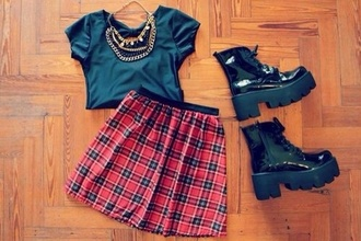 skirt goth grunge soft grunge plaid boots combat boots black combat boots jewels shirt shoes