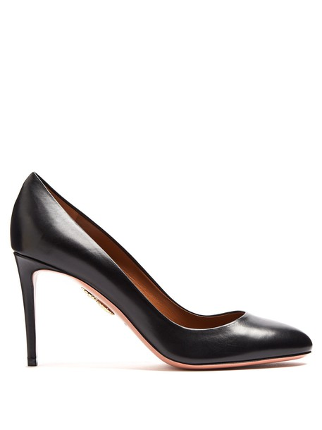 pumps leather black shoes