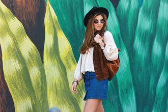the mysterious girl blogger top skirt jacket hat shoes sunglasses jewels
