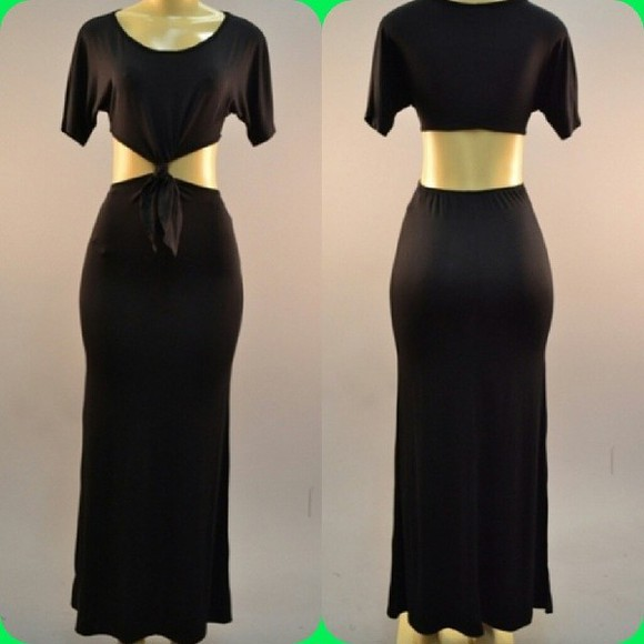 dress black maxi dress long black dress front knot