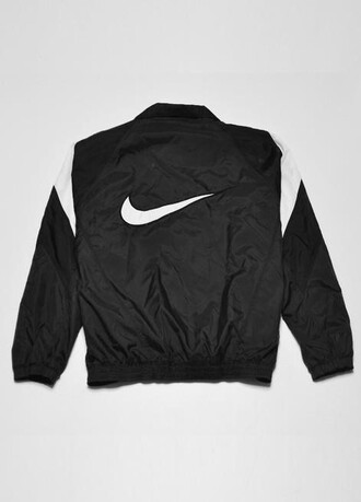 jacket nike black black and white white menswear mens jacket windbreaker