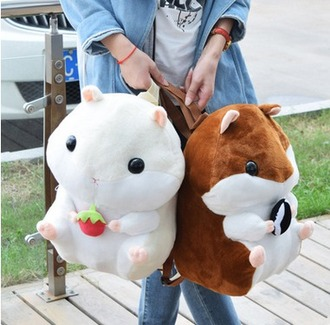 bag brown or white hamster backpack kawaii bag hamster bag
