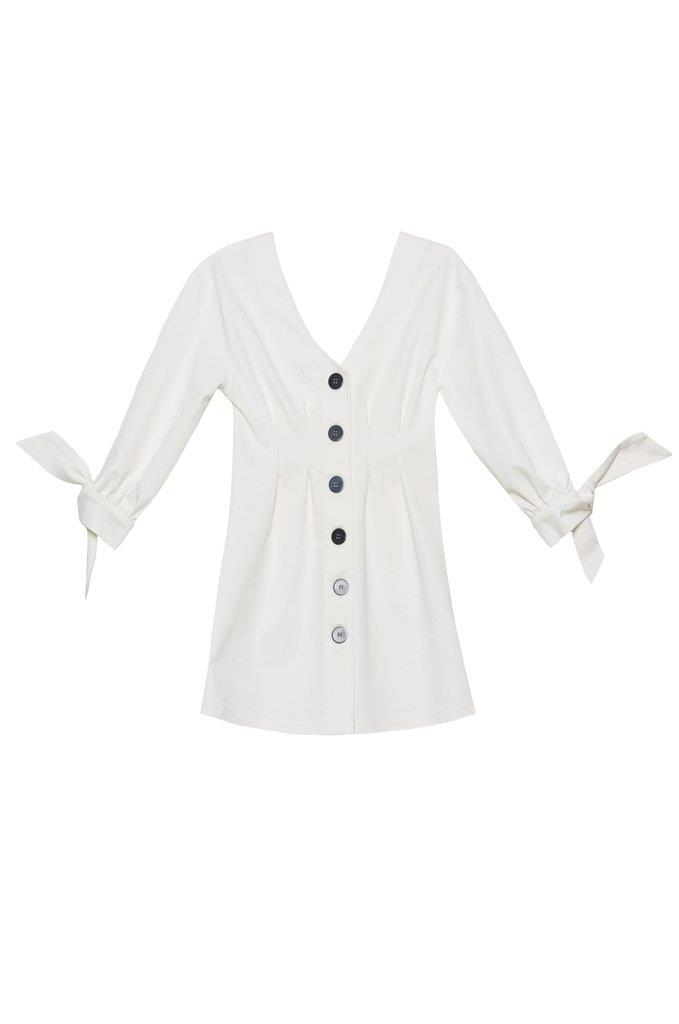 Roe Puff Sleeve Dress - White Linen