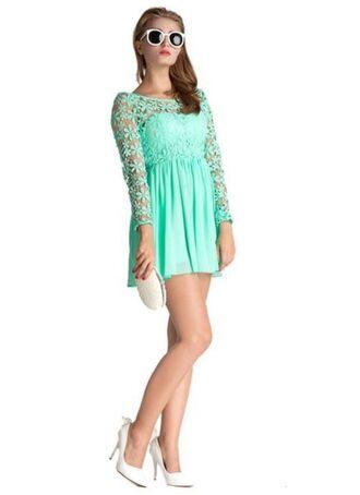 dress mint dress mint mint green lace lace dress lace top dress skater dress long sleeve dress scoop back dress www.ustrendy.com