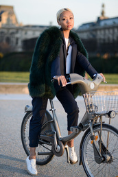 the haute pursuit,jacket,pants,sweater,t-shirt,bag,coat,shoes,jewels,big fur coat,green coat,power suit,two piece pantsuits,matching set,blazer,stripes,striped pants,blue pants,sneakers,white sneakers,low top sneakers