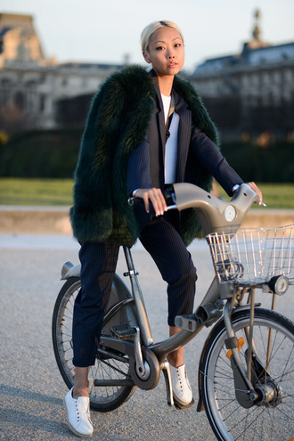 the haute pursuit jacket pants sweater t-shirt bag coat shoes jewels big fur coat green coat power suit two piece pantsuits matching set blazer stripes striped pants blue pants sneakers white sneakers low top sneakers
