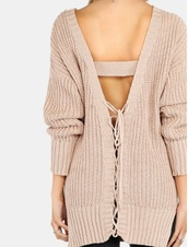sweater,girly,girl,girly wishlist,fall sweater,fall colors,knitwear,knitted sweater,knit,lace up,open back,backless,nude