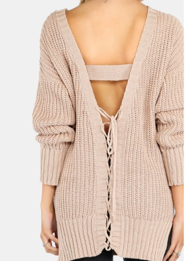 sweater girly girl girly wishlist fall sweater fall colors knitwear knitted sweater knit lace up open back backless nude