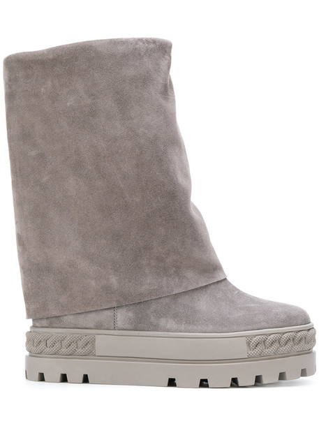 CASADEI women platform boots leather suede grey shoes