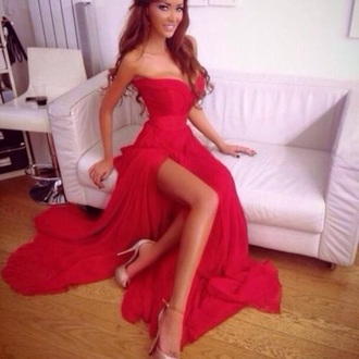 dress red dress prom long top pretty prom dress beautiful ball gowns