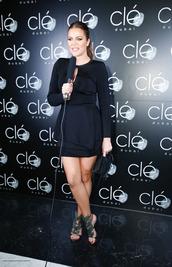 dress,sandals,khloe kardashian,little black dress