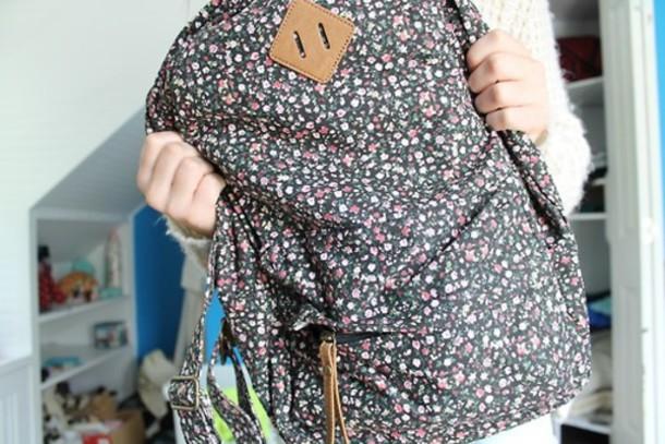 bag bag rucksack floral bag backpack floral backpack
