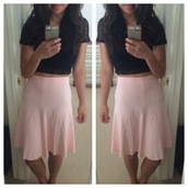 skirt,pink,skater skirt,pink skirt,pink skater skirt,light pink,baby pink,mabell