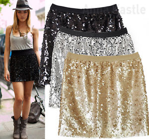 New Womens Sequin Mini Skirt Black Gold Silver Size S | eBay