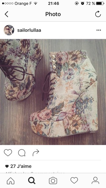shoes flowers high heels compensed white